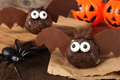 Halloween chocolate donut hole bats with decor Royalty Free Stock Image