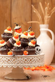 Halloween Chocolate Muffins Stock Photo