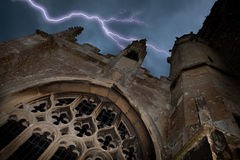 Halloween church with lightning Stock Image