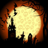 Halloween churchyard, bats and skulls on the moon Stock Image