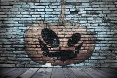 Halloween ściana w zmroku Fotografia Royalty Free