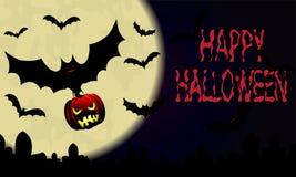 Halloween Cielo notturno con la luna e pipistrello con la zucca Fotografia Stock Libera da Diritti