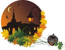 Halloween. Città notturna. Composizione astratta Immagine Stock
