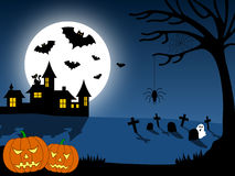 Halloween City Scene [1]. A Halloween city scene with pumpkins Royalty Free Stock Images