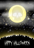 Halloween city witj skull moon theme Royalty Free Stock Photo