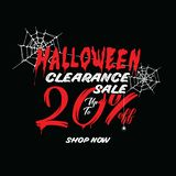 Halloween Clearance Sale Vol.1 20 percent heading design for ban. Ner or poster. Sale and Discounts Concept stock illustration