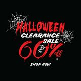 Halloween Clearance Sale Vol.1 60 percent heading design for ban. Ner or poster. Sale and Discounts Concept royalty free illustration