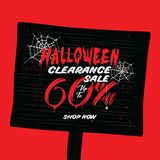 Halloween Clearance Sale Vol.2 60 percent heading design for ban. Ner or poster. Sale and Discounts Concept royalty free illustration