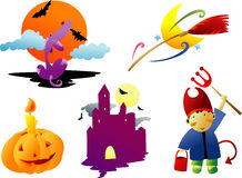 Halloween Clipart. Halloween related illustration clip art cartoon Stock Photos