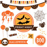 Halloween Clipart. Modern design elements for October 31st. It includes badges, emblems, garlands, decorative elements and icons Royalty Free Stock Photos