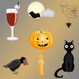 Halloween clipart. Set of halloween icons . This is file of EPS8 format Stock Photo