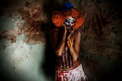 Halloween clown. Bloody scary clown. Halloween. Horror stock photography