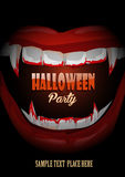 Halloween club party poster with vampire teeth Royalty Free Stock Image