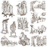 Halloween, cmentarze - ręka rysująca biel paczka ilustracja wektor