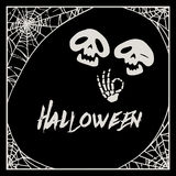 Halloween cobweb frame and two cartoon skeletons Stock Photos