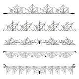 Halloween cobweb vector frame border separator and dividers line isolated on white with spider web for spiderweb scary. Menu design illustration Royalty Free Stock Photography
