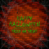 Halloween cobwebs and spiders on brick wall Royalty Free Stock Photography