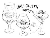 Halloween cocktails Vector illustration Hand draw Stock Photography