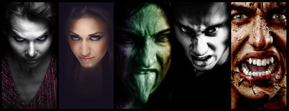 Halloween collage – evil scary faces of women and men. Halloween collage – evil scary horror faces of woman and men Royalty Free Stock Photos