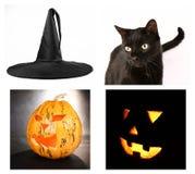 Halloween collage. Witch hat, black cat, Jack-o'-lanterns Stock Photo