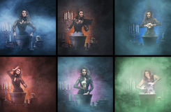 Halloween collage of young witches in a smokey dungeon Royalty Free Stock Image