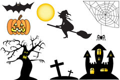 Halloween Collection. A Halloween Collection featuring a bat, pumpkin, moon, witch, cobweb, spider, spooky tree, grave yard and spooky castle Stock Images
