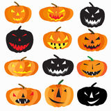 Halloween is a collection of 9 characters pumpkin on a white background vector illustration Stock Photo