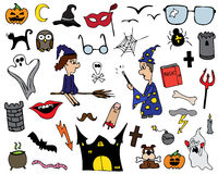 Halloween collection. Funny Halloween set (collection) - isolated on white Royalty Free Stock Images
