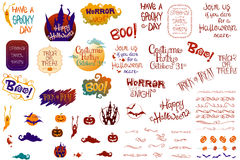 Halloween Collection. This new Halloween Collection includes several Halloween quotes, hand-drawn and decorated, as well as vintage ornaments, simple Halloween Royalty Free Stock Photos