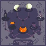 Halloween color isometric concept icons Royalty Free Stock Images