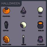 Halloween color isometric icons Royalty Free Stock Photography