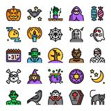 Halloween color line pixel perfect icons. Vector editable stroke royalty free illustration