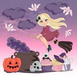 Halloween Color Vector Illustration Set FLYING WITCH royalty free illustration