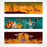 Halloween colored banners horizontal Royalty Free Stock Photo