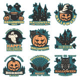 Halloween Colored Emblems. Of greetings and parties with holiday elements and traditional sayings isolated vector illustration Royalty Free Stock Photo