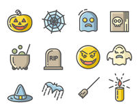 Halloween colored icons set. Linear signs collection. Royalty Free Stock Photography