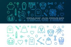 Halloween colorful banners. Vector 31 oct Holiday illustration. Halloween colorful banners. Vector concept horizontal 31 oct Holiday illustration in thin line royalty free illustration