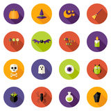 Halloween Colorful Flat Circle Icons Set Royalty Free Stock Photography