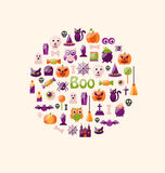 Halloween Colorful Flat Icons. Party Background Stock Photography