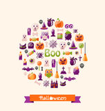 Halloween Colorful Flat Icons. Party Background Royalty Free Stock Photography