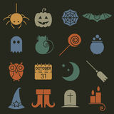 Halloween colorful flat icons set. Royalty Free Stock Images