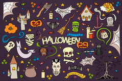Halloween colorful hand drawn doodle set. Royalty Free Stock Images