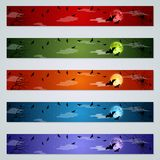 Halloween banners vector templates collection. Halloween colorful horizontal banners design vector templates collection royalty free illustration