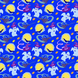 Halloween Colorful Seamless Pattern Night Moon Royalty Free Stock Photo