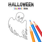 Halloween Coloring Book. Cute Baby Cartoon Character. Royalty Free Stock Photos