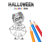 Halloween Coloring Book. Cute Baby Cartoon Character. Royalty Free Stock Images