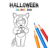 Halloween Coloring Book. Cute Baby Cartoon Character. Stock Photography
