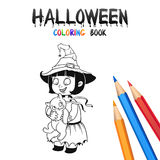 Halloween Coloring Book. Cute Baby Cartoon Character. Royalty Free Stock Image