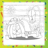Halloween coloring book. Pumpkin and the hat. Royalty Free Stock Image