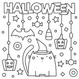Halloween. Coloring page. Vector illustration. Halloween. Coloring page. Black and white vector illustration Royalty Free Stock Photos